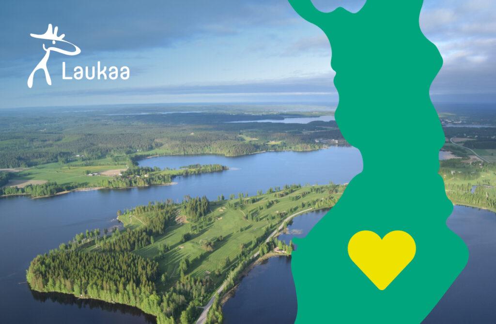 Laukaa ilmakuva. Suomen kartta, jossa sydän Laukaan kohdalla.